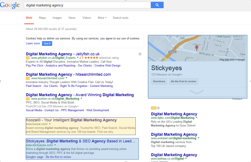 'Digital Marketing Agency' Leeds Search