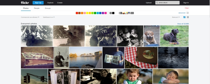 An example Creative Commons results page on Flickr