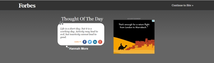 An example of Forbes' infamous thought of the day ads