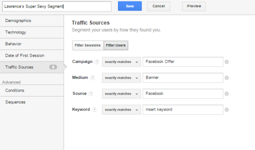 An example of a Google Analytics segment
