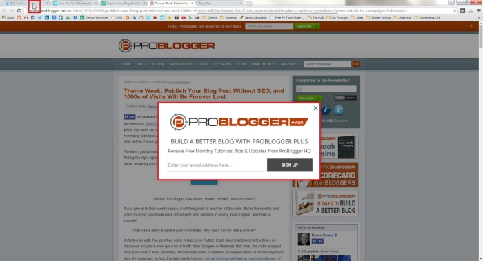 A smart pop-up on problogger
