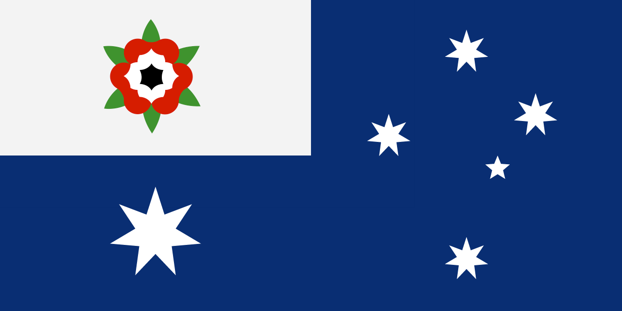 Australia's flag with the proposed new Union Flag design.