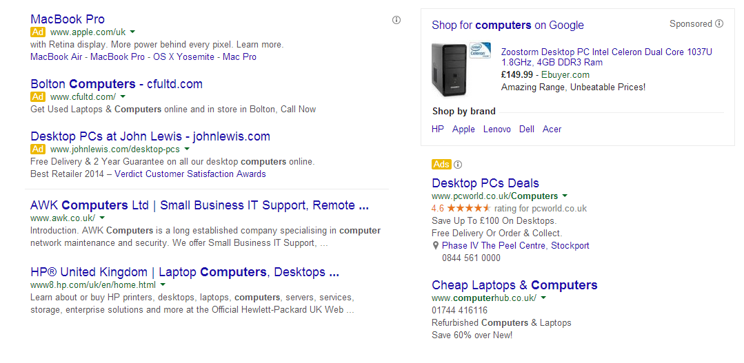 "SERP for a ""computers"" query"