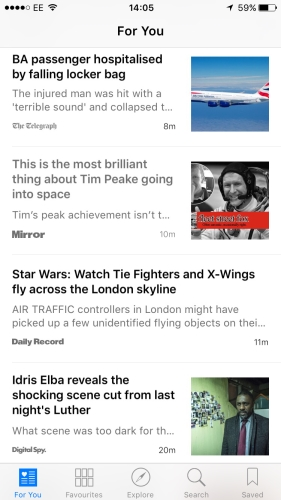 Screenshot of Apple News selection